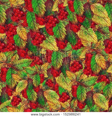 Watercolor Seamless Pattern with Ripe Raspberries and Leaves