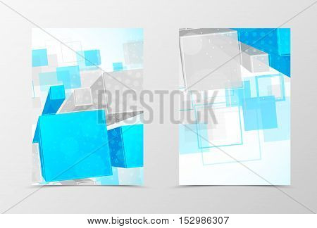 Front and back dynamic geometric flyer template design. Abstract template with blue and gray 3d squares with halftone effect. Vector illustration