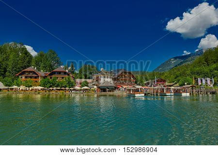 KONIGSEE, BAVARIA GERMANY - August 10th 2016: Konigsee Lake Village View from the Boat