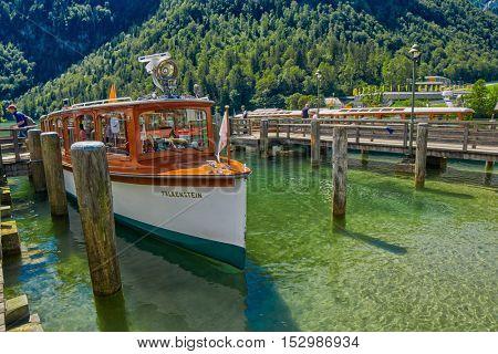 KONIGSEE, BAVARIA GERMANY - 10 Aug 2016: Konigsee Bavarian Lake Boat Cruise