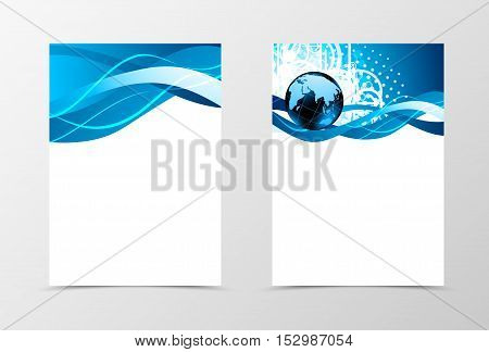 Front and back dynamic wave flyer template design. Abstract template with blue lines, globe and digital background in shiny style. Vector illustration