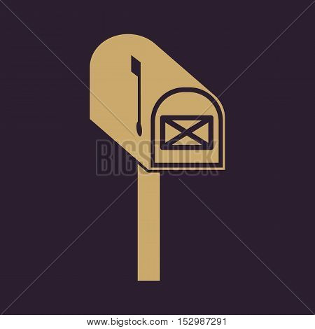 The mailbox icon. Mail, postal, post office symbol. Flat Vector illustration