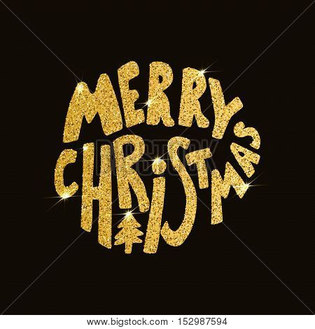 Merry Christmas. Hand drawn lettering on dark background with golden sparkles. Vector illustration.