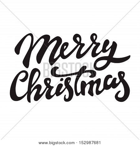 Merry Christmas. Hand drawn lettering on light background. Vector illustration.