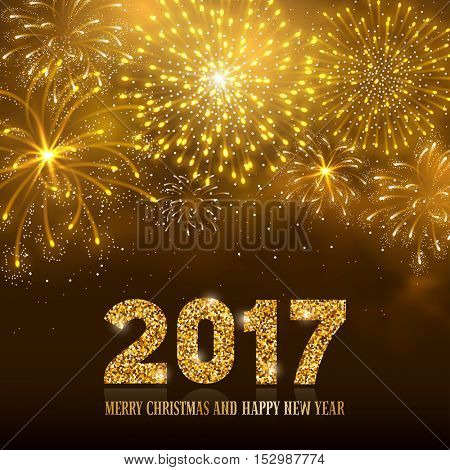 Christmas firework bursting in various shapes and golden colors sparkling against black night background. Lettering 2017 with golden glitter. Merry Christmas and Happy New Year. Vector illustration.