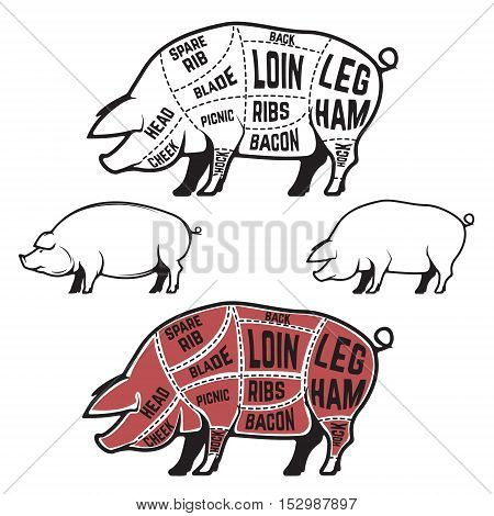 Butcher diagram scheme and guide - Pork cuts. Set of pig silhouettes isolated on white background