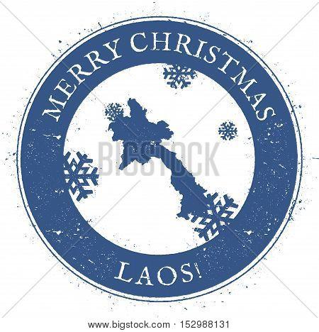 Lao People's Democratic Republic Map. Vintage Merry Christmas Lao People's Democratic Republic Stamp