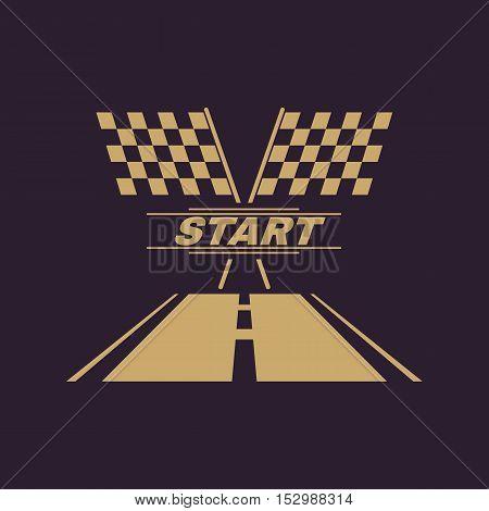 The start icon. Start symbol. Flat Vector illustration