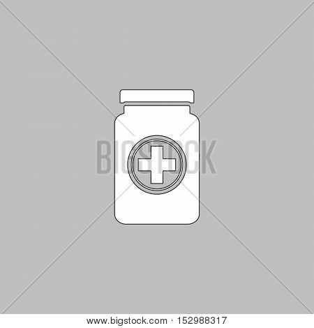 medicine bottle Simple vector button. Illustration symbol. Color flat icon