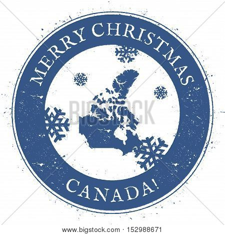 Canada Map. Vintage Merry Christmas Canada Stamp. Stylised Rubber Stamp With County Map And Merry Ch