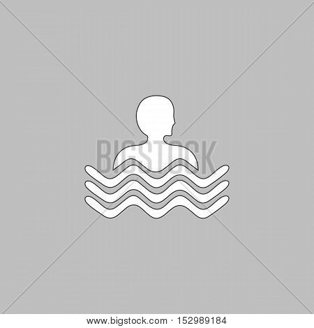 Pool Simple vector button. Illustration symbol. Color flat icon