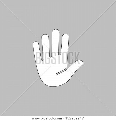 Stop hand Simple vector button. Illustration symbol. Color flat icon