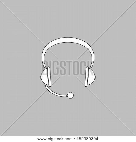 Headphone Simple vector button. Illustration symbol. Color flat icon