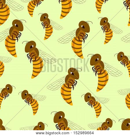 Cute cartoon bees seamless pattern. Vector illustration.