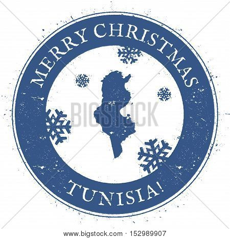 Tunisia Map. Vintage Merry Christmas Tunisia Stamp. Stylised Rubber Stamp With County Map And Merry