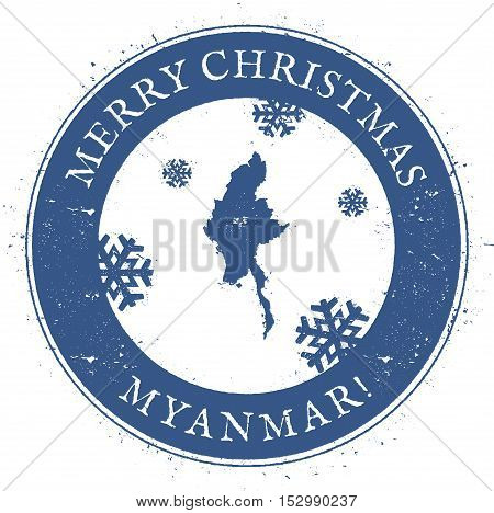 Myanmar Map. Vintage Merry Christmas Myanmar Stamp. Stylised Rubber Stamp With County Map And Merry