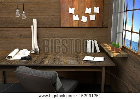 3D Rendering : illustration of modern creative workplace.tools on wooden table and wooden room.curtain and window with sunlight shining from the outside of seaview
