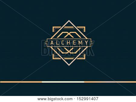 creative geometric  linear gradient logo on alchemy