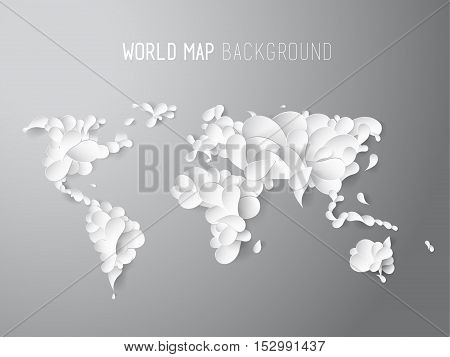 World map illustration created of leafs with all continents and text at the top.
