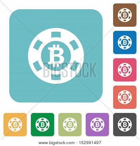 Bitcoin casino chip flat icons on color rounded square backgrounds