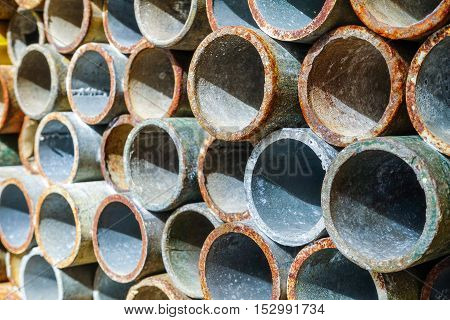 Closeup and selective focus of Steel pipes or scaffolding pipes background & texture