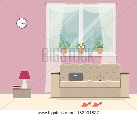 Living room in pink color. There is a sofa, a window with flowers, a table, room slippers and other objects in the picture. Vector flat illustration