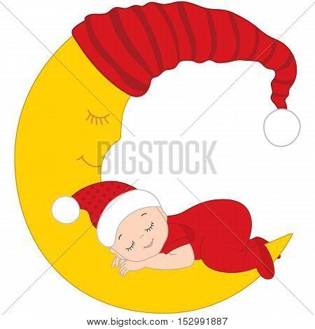 Vector Christmas cute baby sleeping on the moon