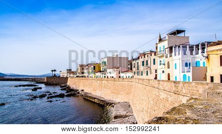 View of the promenade in the downtown of Alghero Sardinia