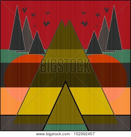 Bright abstract modern illustration with sunset landscape background
