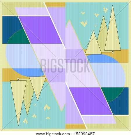 Bright abstract modern illustration with landscape background