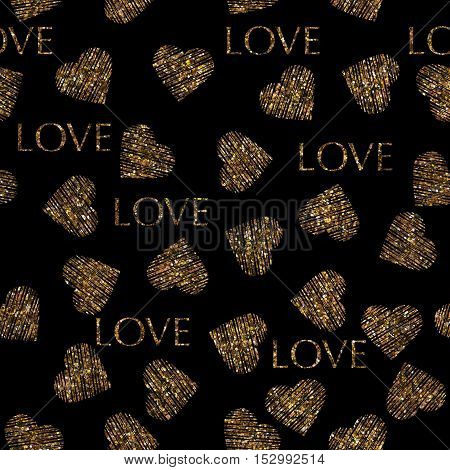 Vatentines day gold seamless pattern with stylish heart and text. Gold trendy glitter print on black background
