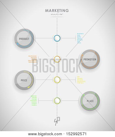 Marketing mix business infographic background with colorful techno leg light circles - light version.