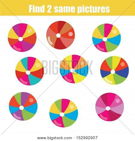 Find the same pictures children educational game. Find equal pairs of balls kids activity