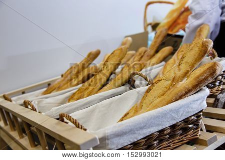 The Bread Is On The Counter In The Store. It Is Very Fresh. Early Winter Morning, And The Lighting,