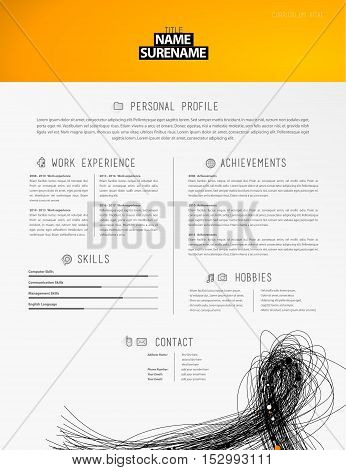Creative simple cv template with black lines in footer.