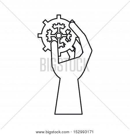 Hand holding gear icon. tool instrument repair and construction theme. Isolated design. Vector illustration