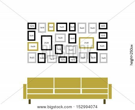 Vector location for hanging photo frames on the wall above the sofa . Size of rectangle is WxH=192x97 cm drawn to scale, as it would looks at the wall height 250 cm