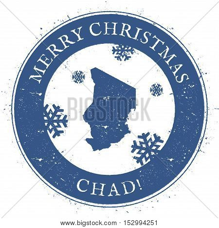 Chad Map. Vintage Merry Christmas Chad Stamp. Stylised Rubber Stamp With County Map And Merry Christ