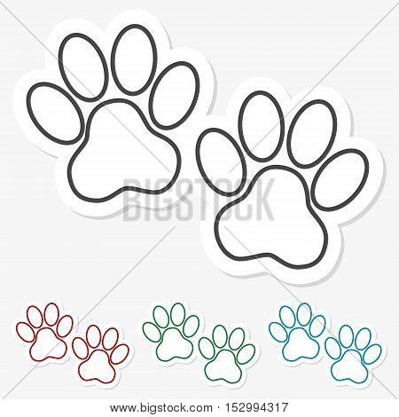 Multicolored paper stickers - Paw Print on gray background