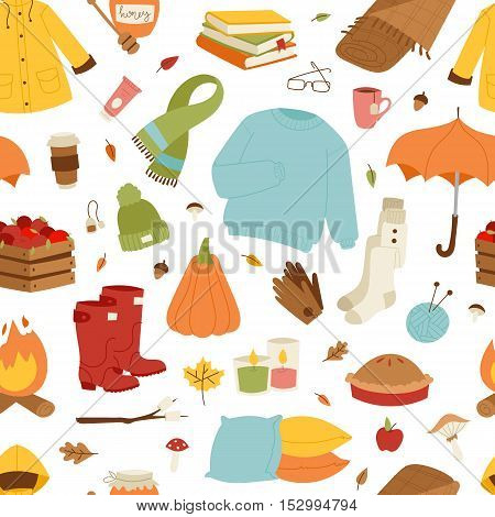 Collection of autumn items seamless pattern. Clothes related to autumn and winter. Clothes autumn, winter symbols seamless pattern and icons