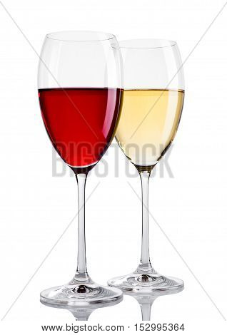 Glass of red and white wine on white background