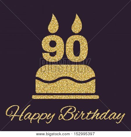 The birthday cake with candles in the form of number 90 icon. Birthday symbol. Gold sparkles and glitter Vector illustration