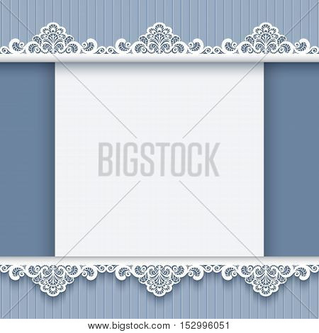 Cutout paper background elegant invitation card with lace border decoration