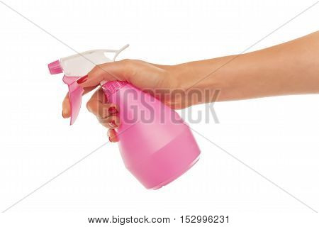 Hand holds a spray for flowers on a white background.