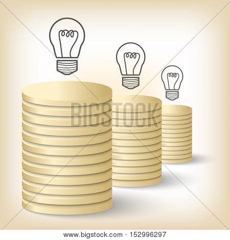 Three vector golden coin and idea symbol