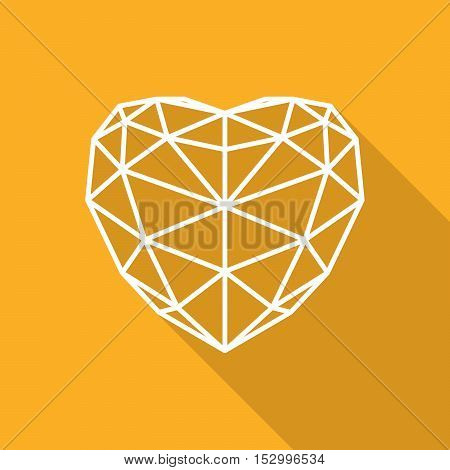 White heart icon. Simple triangular sign of the heart with long shadow. Symbol of the heart on orange background. Symbol of the love. Vector illustration.