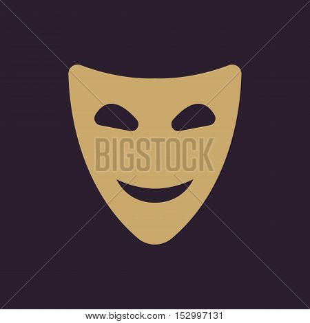 The smiling mask icon. Comedy and theater symbol. Flat Vector illustration