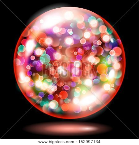 Sphere With Sparkles In Red Colors. Used Only On Dark Background