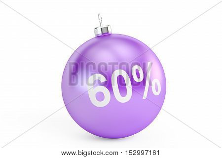 Christmas Sale 60% concept 3D rendering isolated on white background