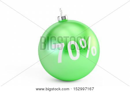 Christmas Sale 70% concept 3D rendering isolated on white background